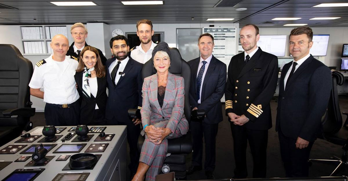 Dame Helen Mirren with the Scenic Eclipse crew