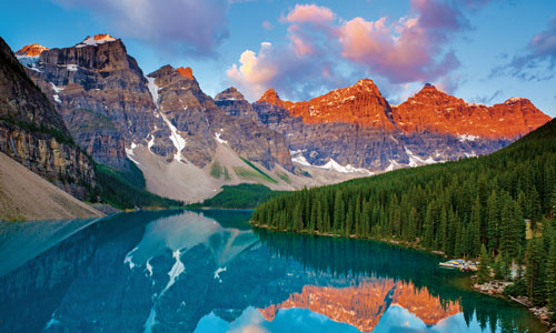 Admire the turquoise colours of Moraine Lake, Banff National Park, Canada
