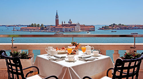 dining table overlooking european river
