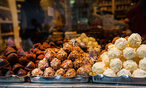 Sample the delicious Belgian chocolate in Bruges